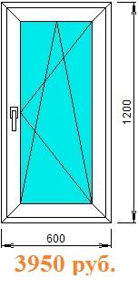 Окно поворотно-откидное одностворчатое с однокамерным стеклопакетом (24 мм)