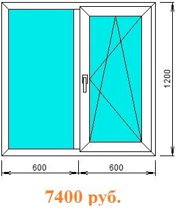 Окно поворотно-откидное двухстворчатое с однокамерным стеклопакетом (24 мм)